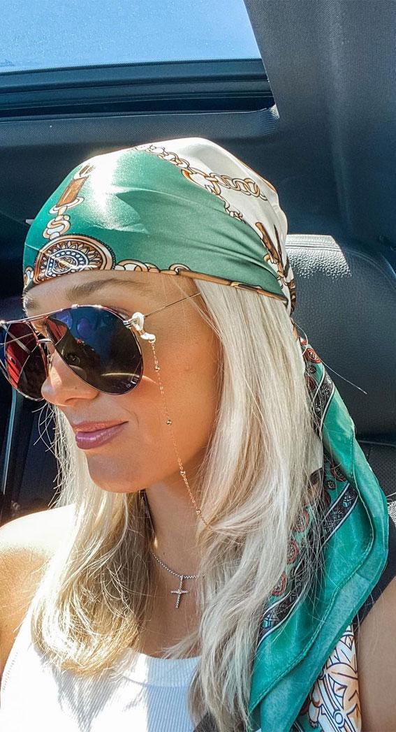 39 Trendy ways to wear a head scarf : Cute Silk Green Head Scarf