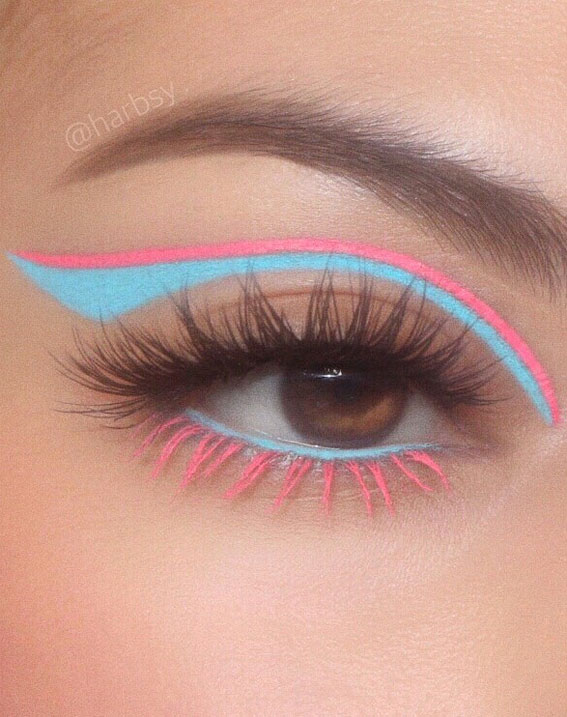 Creative Eye Makeup Art Ideas You Should Try : Blue and Pink Cut Crease Inspired Liner