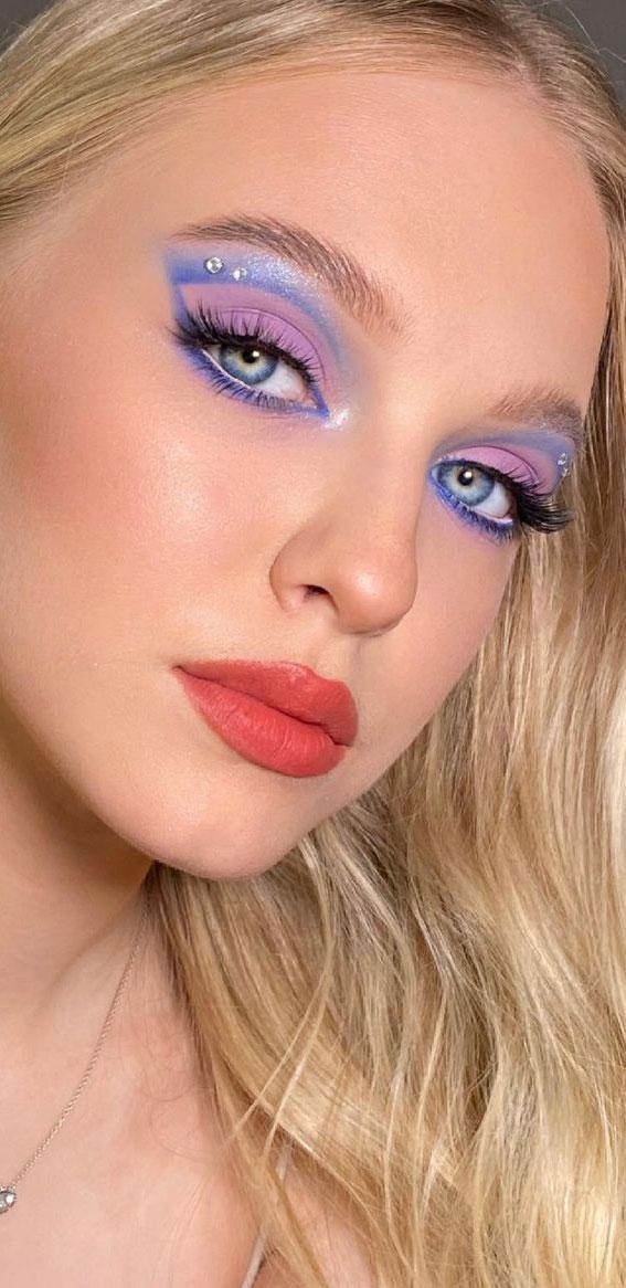 Creative Eye Makeup Art Ideas You Should Try : Blue, Lavender & Rhinestones