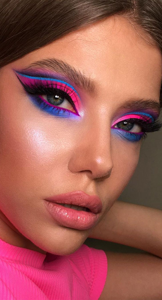 Creative Eye Makeup Art Ideas You Should Try : Pretty Bright pink and blue combo