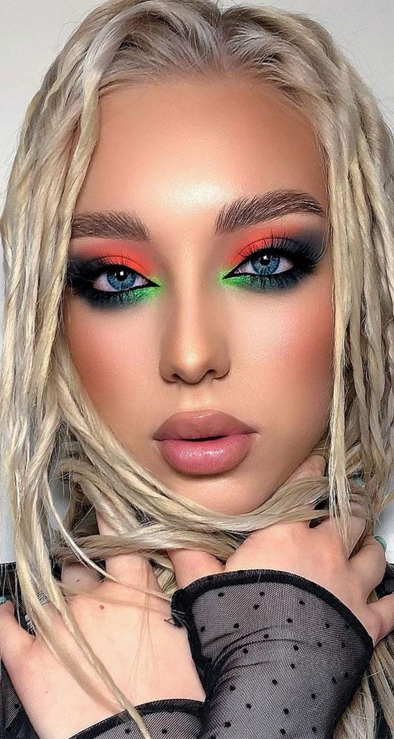 Creative Eye Makeup Art Ideas You Should Try : Neon Green & Orange Eye Makeup Look
