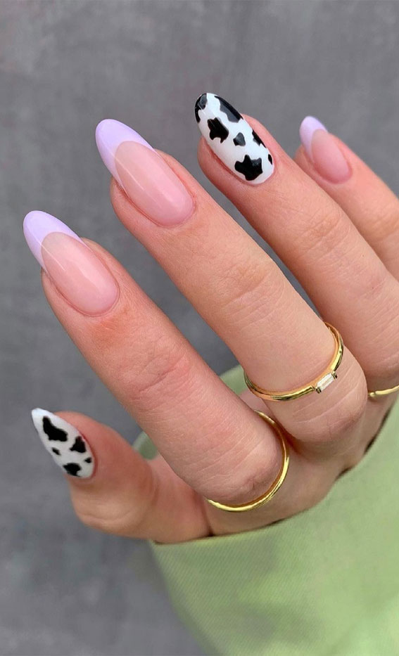 mismatched cow print and french tip nails, french tip nails, cow print nail art designs, mix and match cow print and french nails