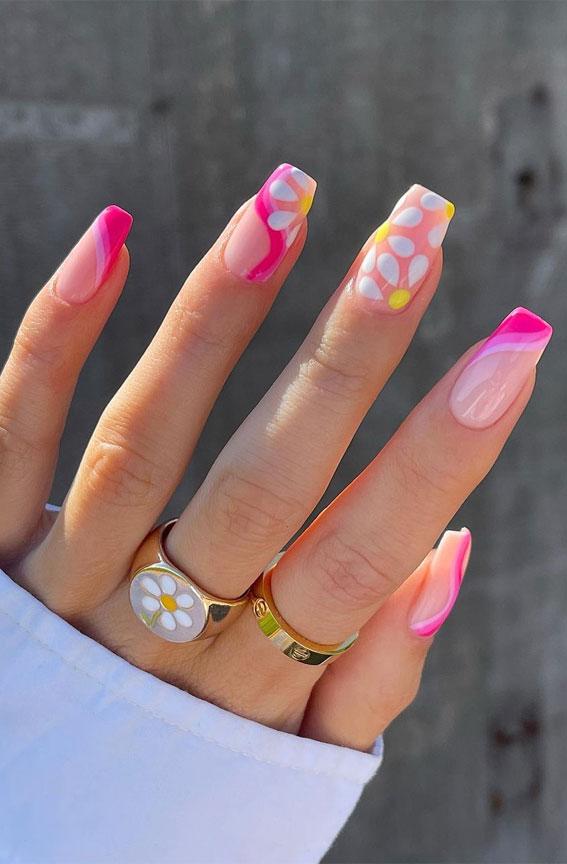 coffin nails, pink and yellow nail art designs, flower nails, bright pink nails, summer nail art designs, summer nail designs pink, summer nail art coffin