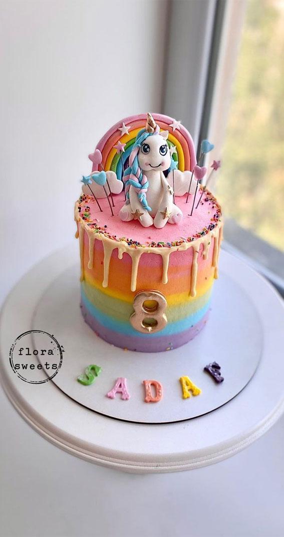 Cute Unicorn Cake Designs : Rainbow Cake with Unicorn for 8th birthday