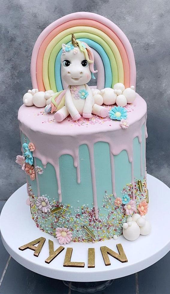 Cute Unicorn Cake Designs : Mint Cake with Pink Icing Drip, Unicorn & Rainbow