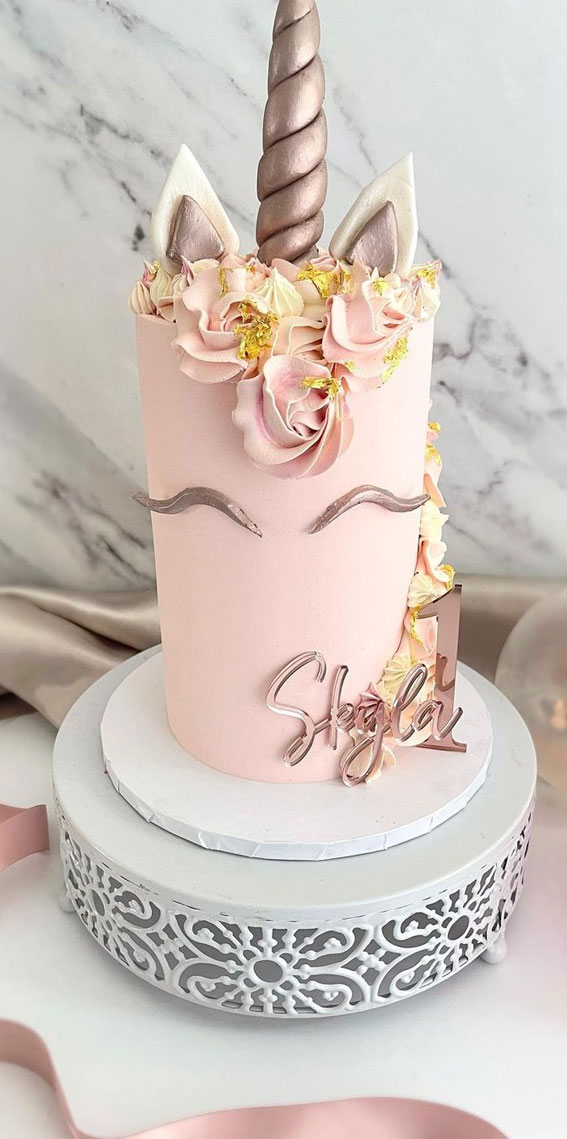 Cute Unicorn Cake Designs : Pink and rose gold for 1st birthday