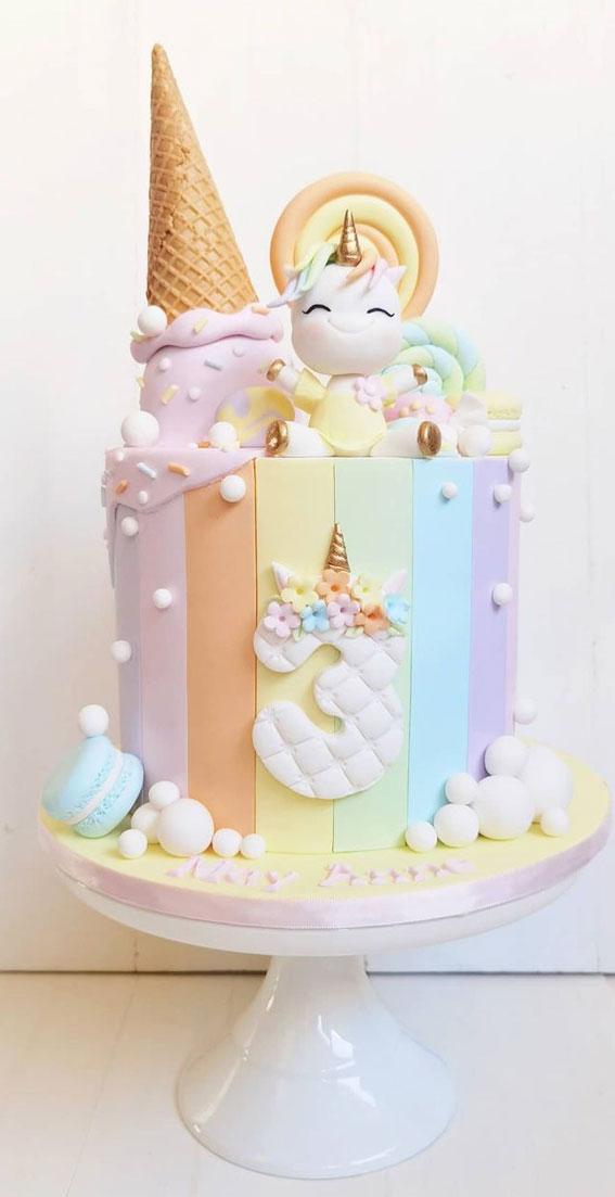 Cute Unicorn Cake Designs : Pastel Unicorn Cake for 3rd Birthday