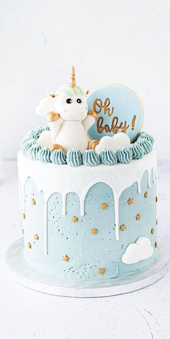 Cute Unicorn Cake Designs : Blue unicorn cake with white icing drips