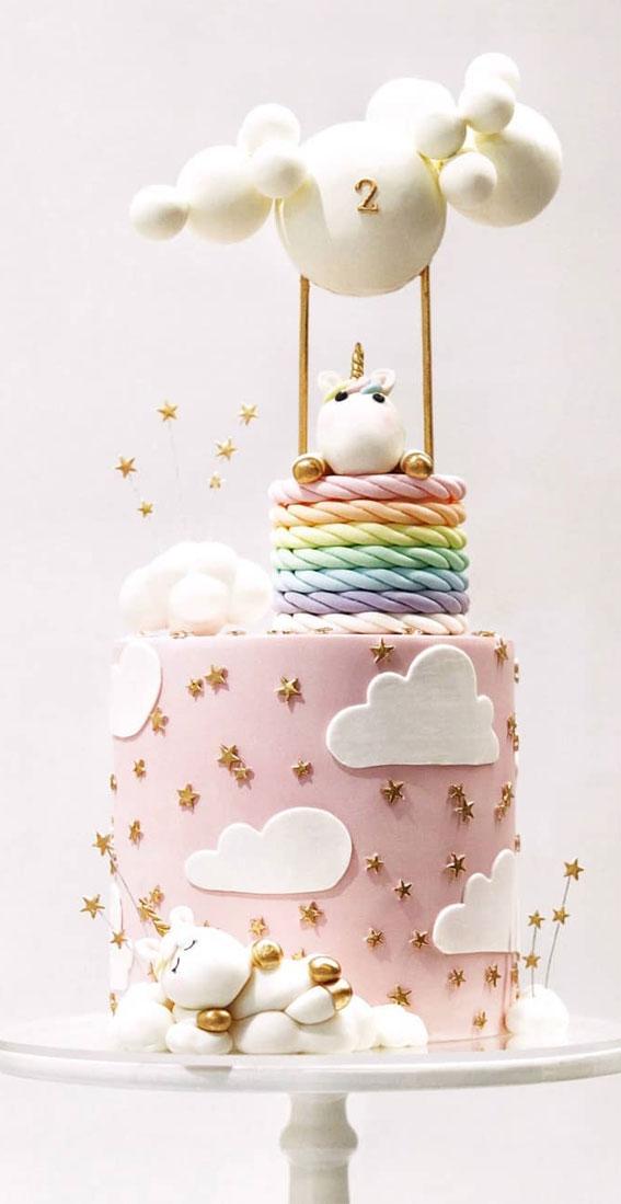 Cute Unicorn Cake Designs : Soft Pink cake with tiny gold star & unicorn