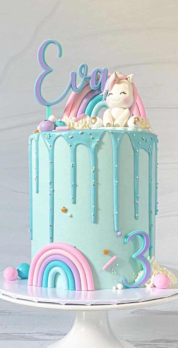 Cute Unicorn Cake Designs : Blue Cake with Pastel Rainbow, icing drip & Unicorn