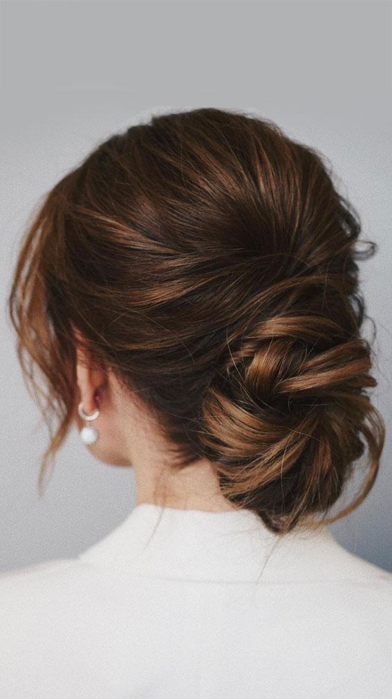 32 Classy, Pretty & Modern Messy Hair Looks : Texture, Pretty Low Bun