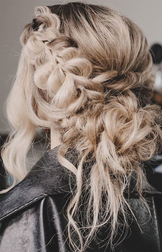 32 Classy, Pretty & Modern Messy Hair Looks : Messy textured bun with a pull through braid