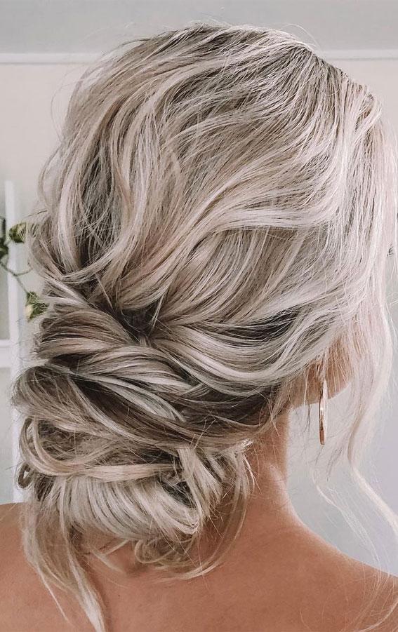 32 Classy, Pretty & Modern Messy Hair Looks : Effortless Messy Wrappd Low Bun