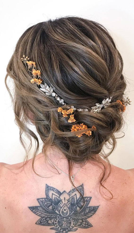 32 Classy, Pretty & Modern Messy Hair Looks : Airy Loose Braid Updo with Flowers