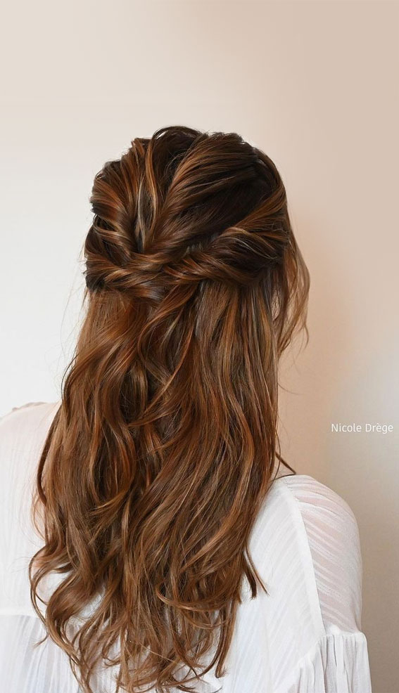 Half Up Half Down Hairstyles For Any Occasion : Volume Texture, Elegant Half Up