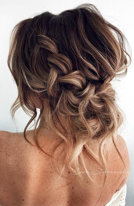 32 Classy, Pretty & Modern Messy Hair Looks : Textured Chunky Braid Updo