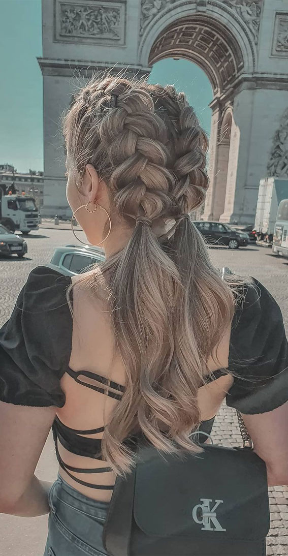 24+ Braid Hairstyles That Really Jazz Up Your Hair : Double braid pony