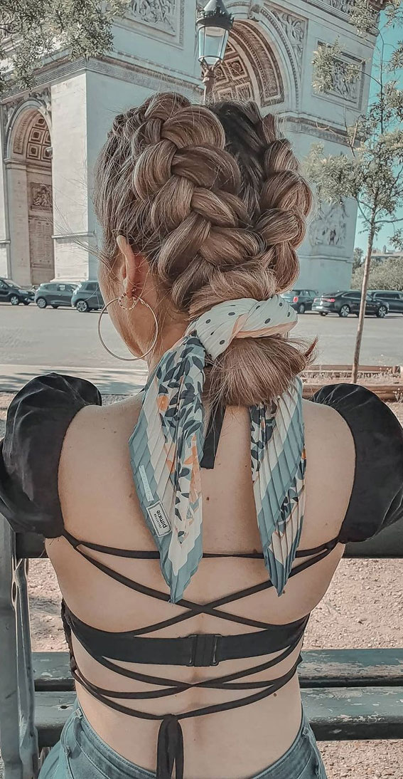 24+ Braid Hairstyles That Really Jazz Up Your Hair : Double Braid Bun