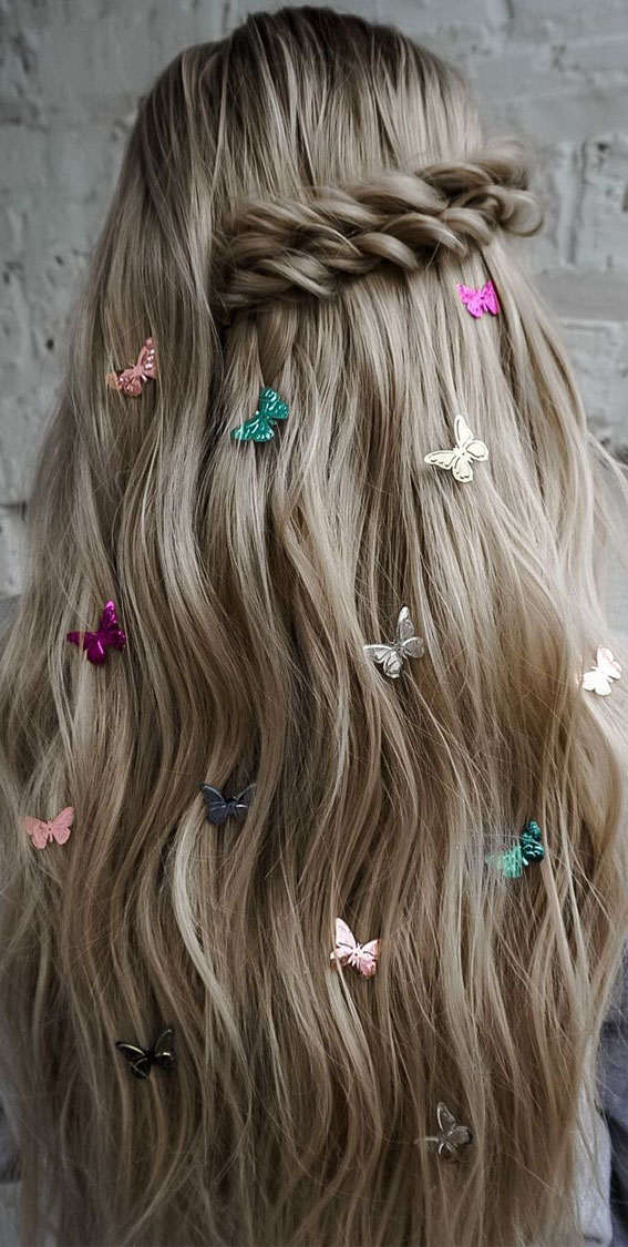 24+ Braid Hairstyles That Really Jazz Up Your Hair : Side Braid Hair Down & Butterfly