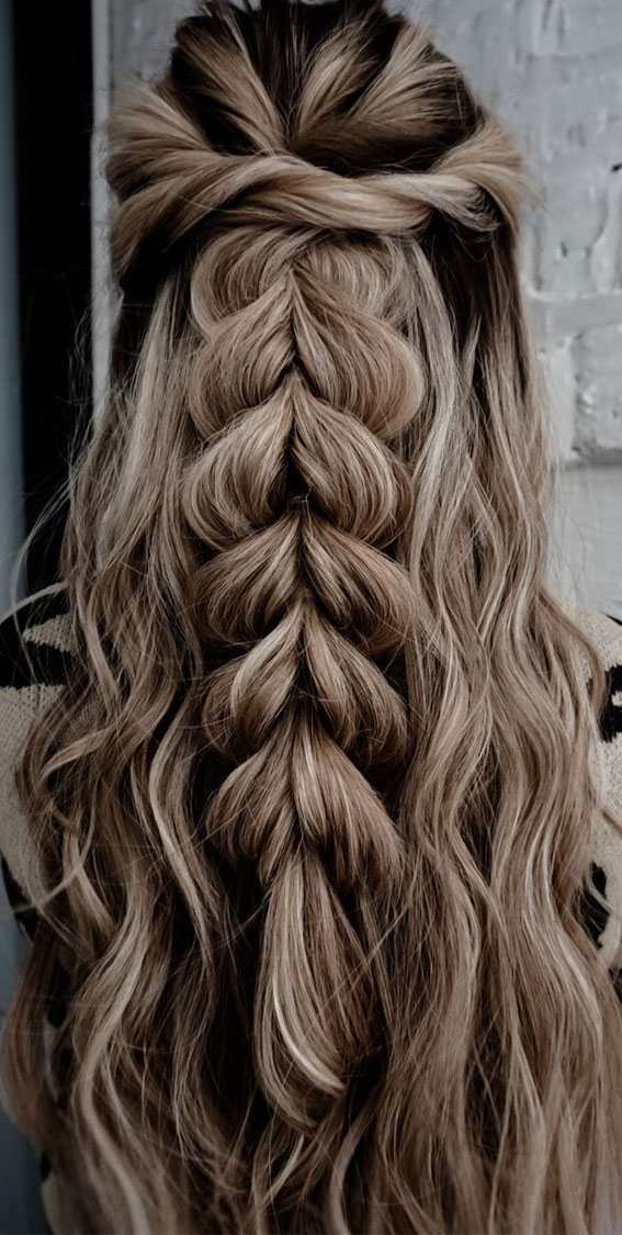 24+ Braid Hairstyles That Really Jazz Up Your Hair : Half up & Pull Through Braid