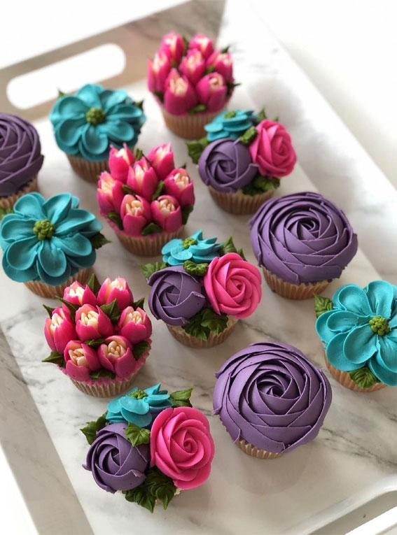 35+ Cute Buttercream Cupcake Decorating Ideas : Colorful Cupcakes