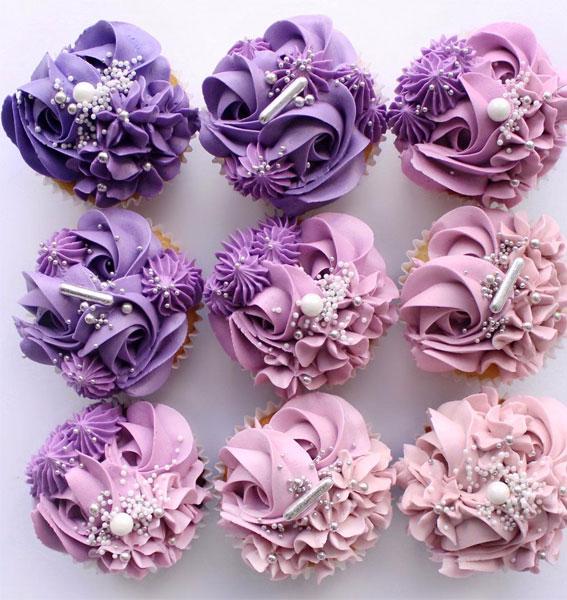 35+ Cute Buttercream Cupcake Decorating Ideas : Ombre Purple Buttercream Cupcake