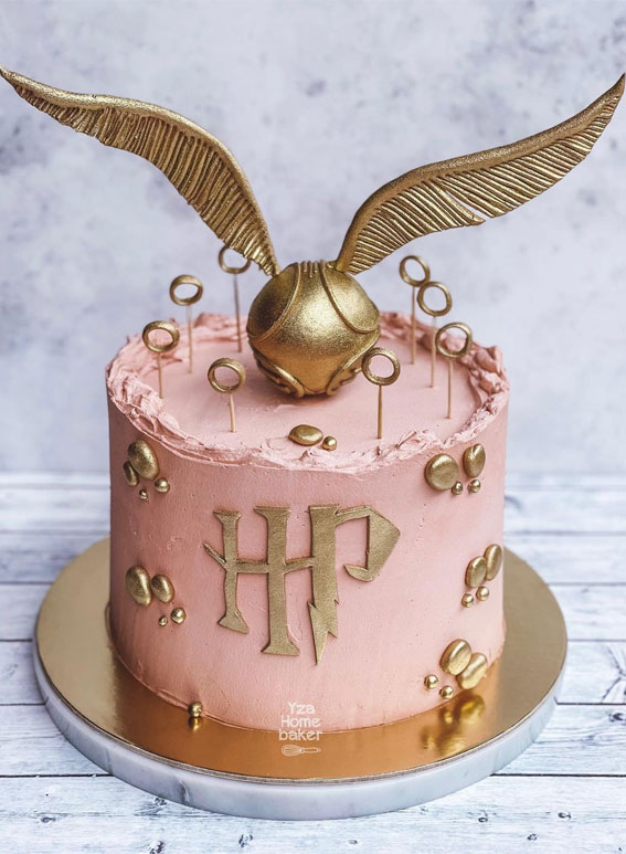 30+ Cute Harry Potter Cake Designs : Harry Potter Pink Cake Topped with Golden Snitch
