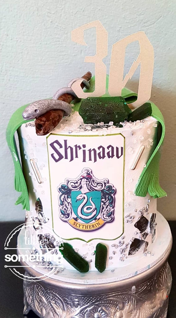 30+ Cute Harry Potter Cake Designs : Slytherin birthday cake
