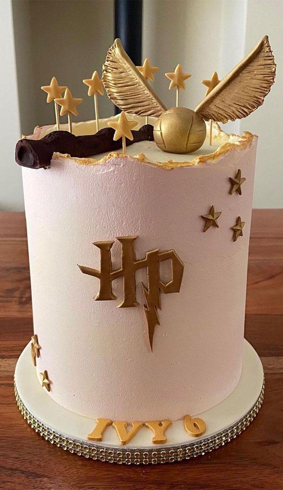30+ Cute Harry Potter Cake Designs : Light Pink Harry Potter Cake