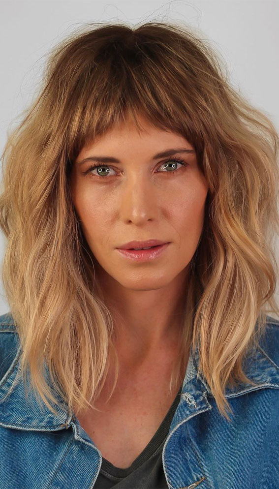 20 Mid length hairstyles With fringe and layers : Low Maintenance