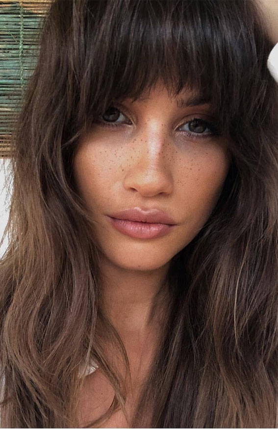 20 Mid length hairstyles With fringe and layers : Cute Brunette with Bangs