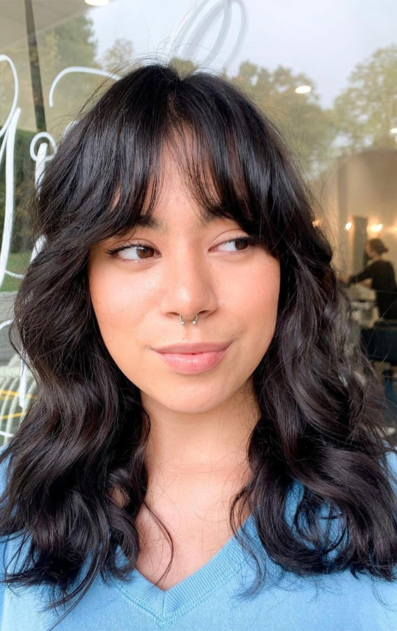 20 Mid length hairstyles With fringe and layers : Cute Shag Mid Length