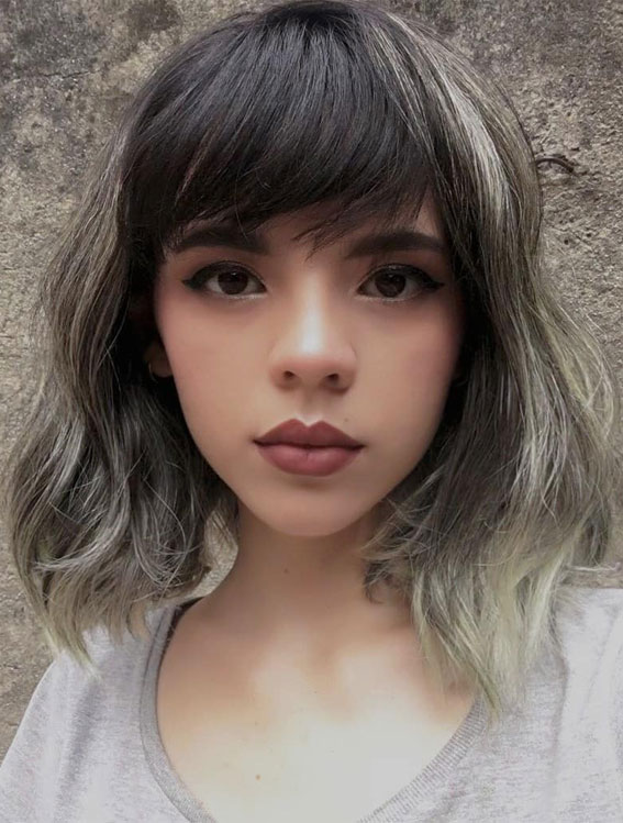 20 Mid length hairstyles With fringe and layers : Cute Two-Toned Long Bob