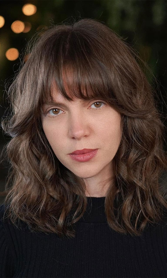 20 Mid length hairstyles With fringe and layers : 70s layers with fringe