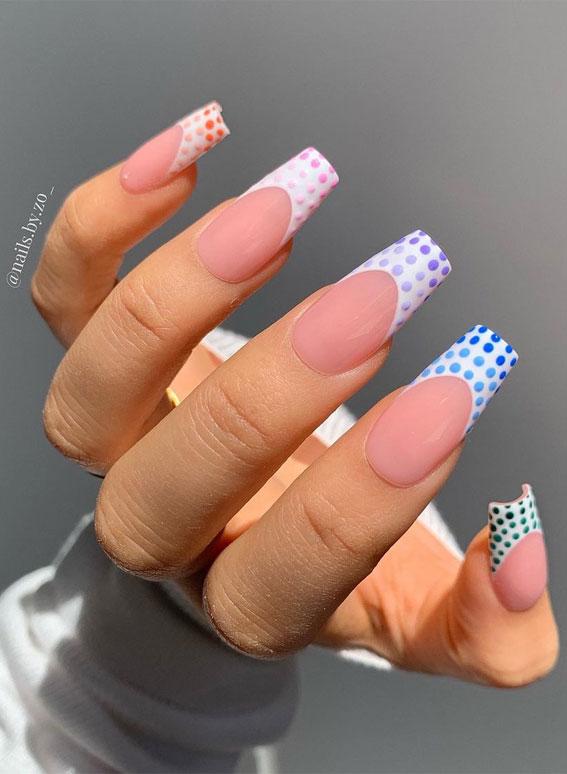 pastel polka dot french tips, polka dot french tips, polka french nails, polka dot french tip nails, pastel polka dot tip nails, coffin nails, polka dot coffin nails