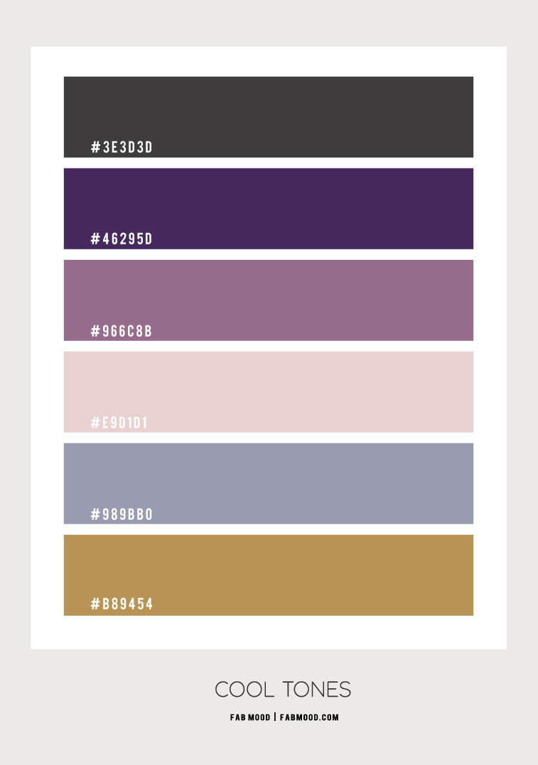 grey and purple color combination, grey purple and dusty blue color combo, cool tones color combos, dusty blue and grey color combo, dusty blue and purple color combo