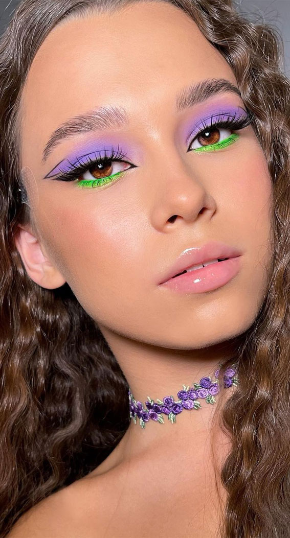 35 Cool Makeup Looks That'll Blow Your Mind : Lavender and Neon Green Eyeshadow