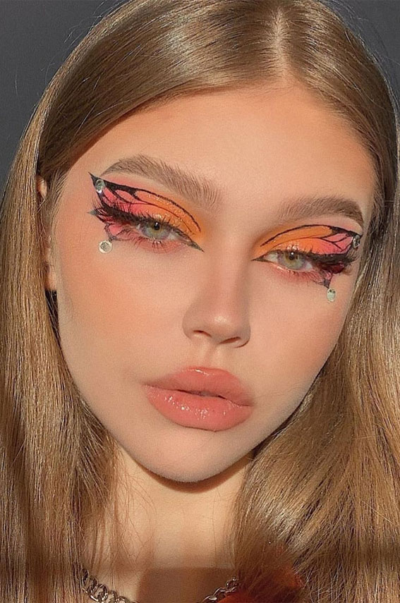 35 Cool Makeup Looks That'll Blow Your Mind : Orange Butterfly Eye Makeup Look