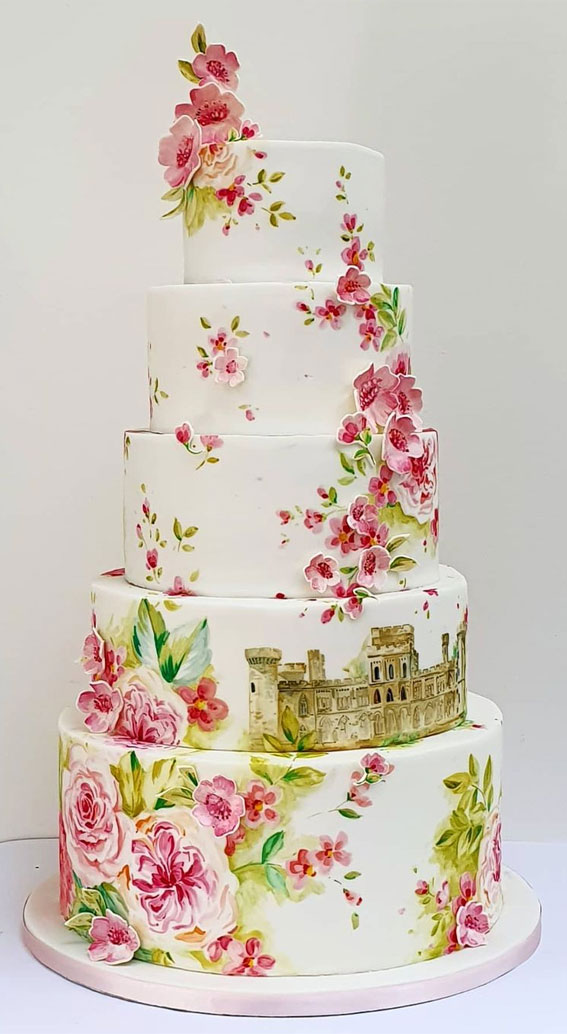 34 Creative Wedding Cakes That Are So Pretty : Painted Roses & Cherry Blossom
