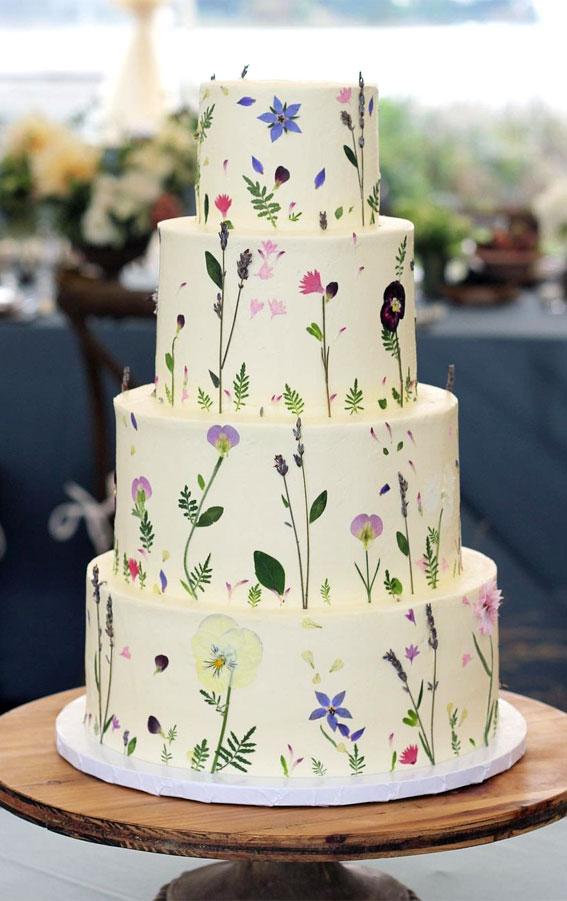 34 Creative Wedding Cakes That Are So Pretty : Pressed Flower Wedding Cake
