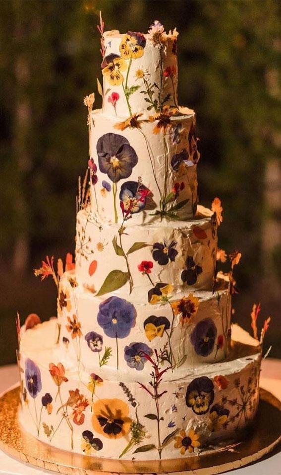 34 Creative Wedding Cakes That Are So Pretty : Pressed Flower Four-TieredWedding Cake