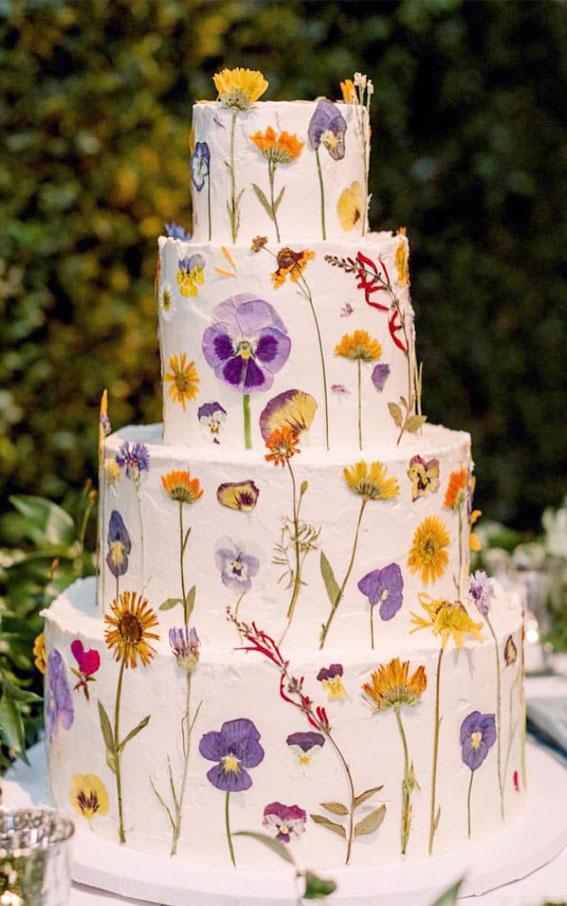 34 Creative Wedding Cakes That Are So Pretty : Fresh Pressed Flower Wedding Cake