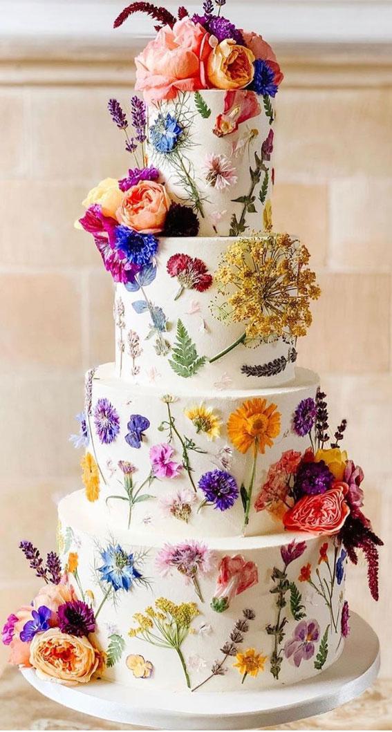 34 Creative Wedding Cakes That Are So Pretty : Pressed Edible Flower Wedding Cake