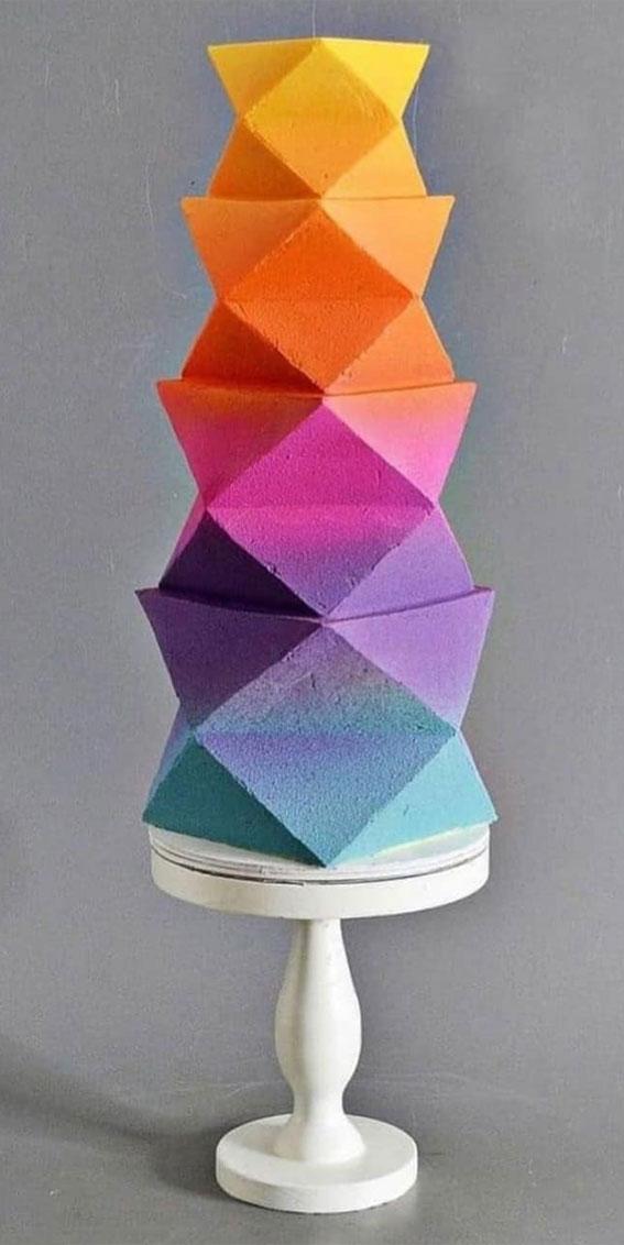 34 Creative Wedding Cakes That Are So Pretty : Rainbow Geometric Wedding Cake
