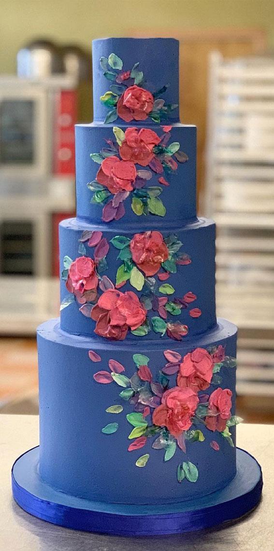 34 Creative Wedding Cakes That Are So Pretty : Bright Blue Wedding Cake