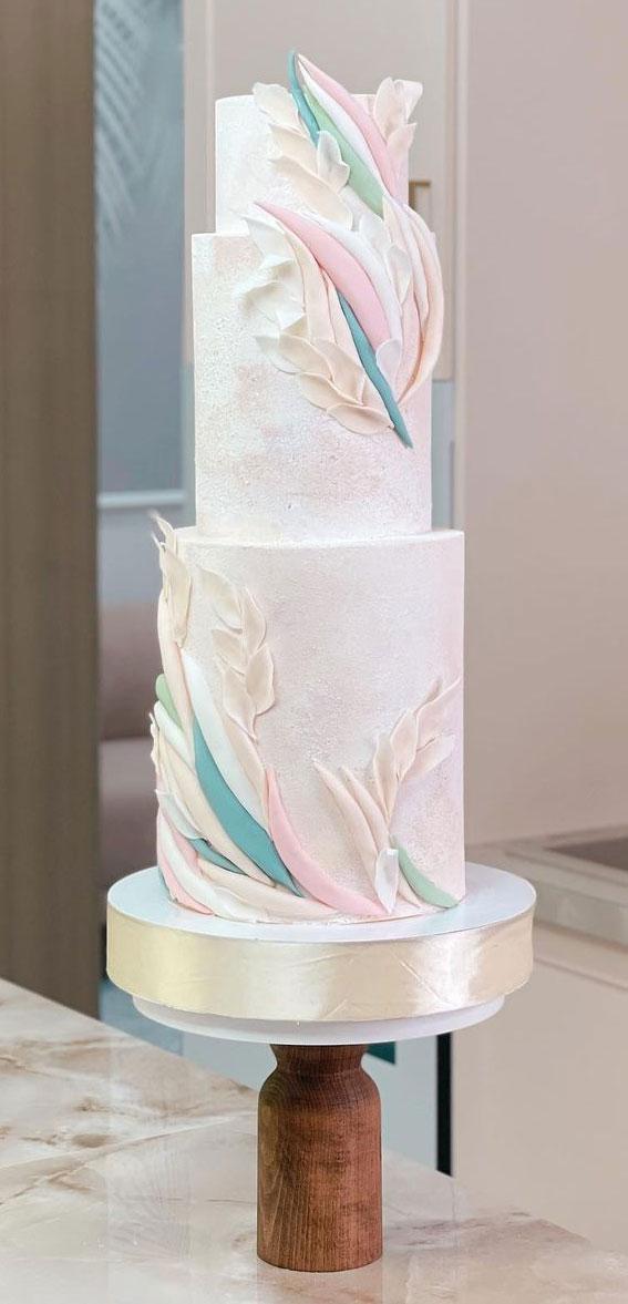 34 Creative Wedding Cakes That Are So Pretty : Pastel Textured Wedding Cake