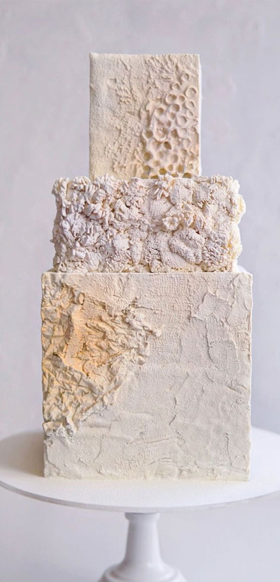 34 Creative Wedding Cakes That Are So Pretty : Textured Square Wedding Cake