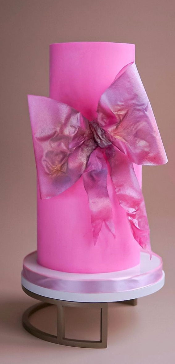 34 Creative Wedding Cakes That Are So Pretty : Hot Pink Wedding Cake with Bow Details