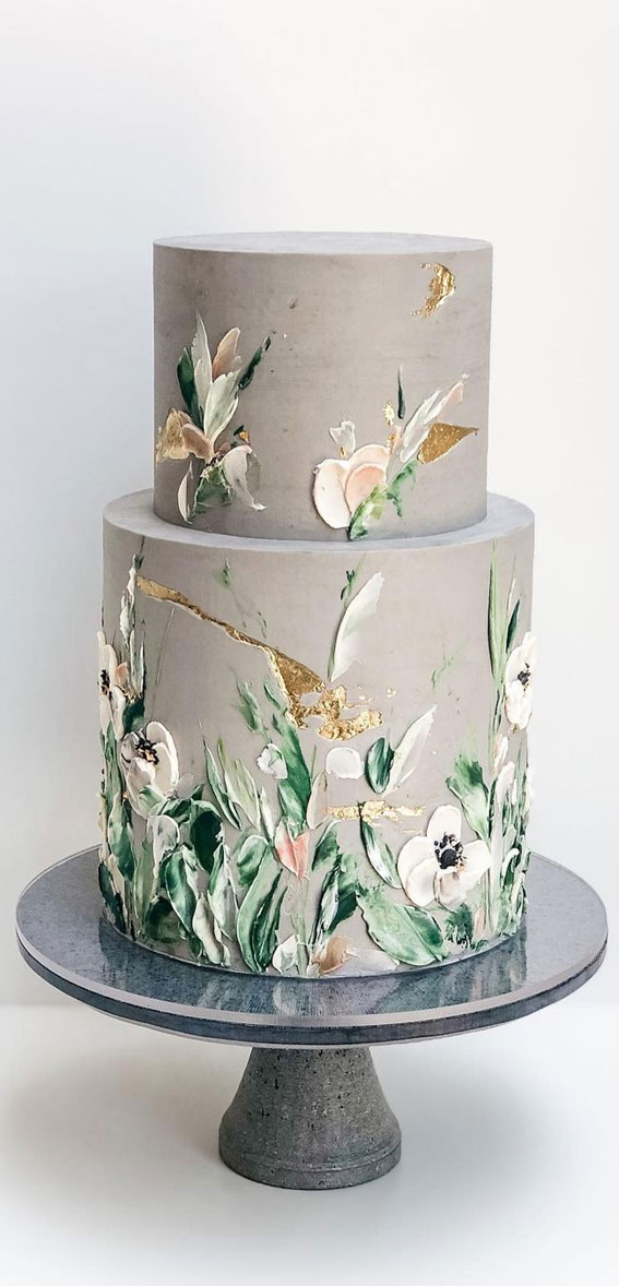 34 Creative Wedding Cakes That Are So Pretty : Floral Painted on Grey Cake