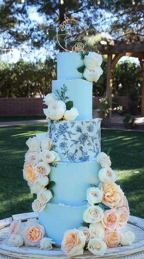 34 Creative Wedding Cakes That Are So Pretty : Soft Blue Wedding Cake